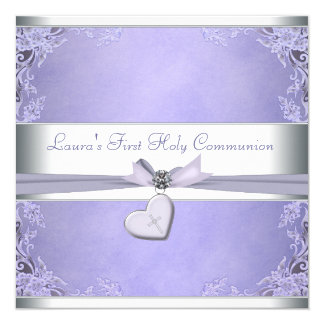 Lavender Cross Girls Purple First Communion Card