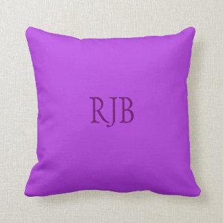 Lavender custom initials monogram cushion pillow