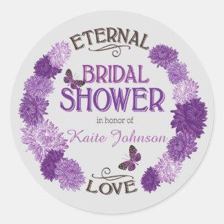 Lavender Dahlia Wreath Modern Bridal Shower Label Round Stickers