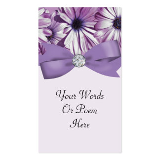 Lavender Daisies Bow & Ribbon Wedding Business Cards