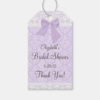 Lavender Damask and Lace Bridal Shower Guest Favor