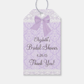 Lavender Damask and Lace Bridal Shower Guest Favor Gift Tags