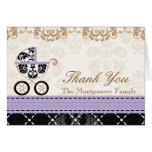 LAVENDER Damask Baby Carriage Shower Thank You