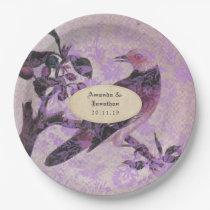 Lavender Damask Bird Wedding Paper Plate