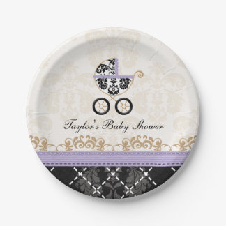 Lavender Damask Carriage Baby Shower Paper Plate