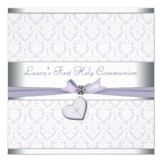 Lavender Damask Cross Girls Purple First Communion 13 Cm X 13 Cm Square Invitation Card