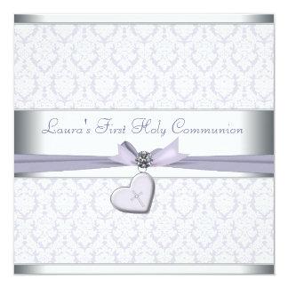 Lavender Damask Cross Girls Purple First Communion Personalized Invites