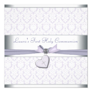 Lavender Damask Cross Girls Purple First Communion 5.25x5.25 Square Paper Invitation Card