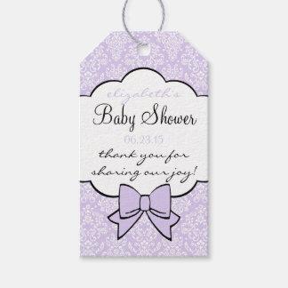 Lavender Damask Elegant Baby Shower Guest Favor Gift Tags