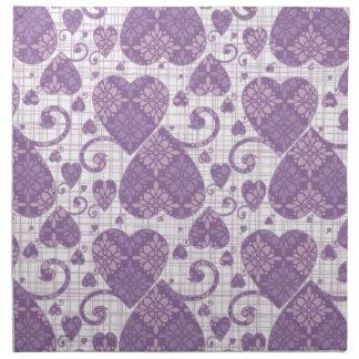 Lavender Damask Hearts Cloth Napkin