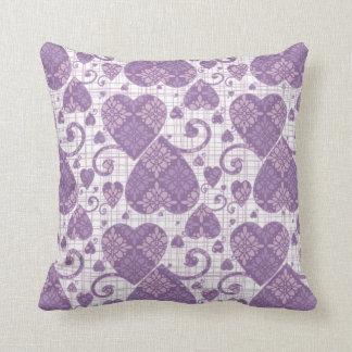 Lavender Damask Hearts Cushion