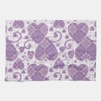 Lavender Damask Hearts Hand Towel