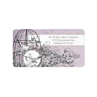 Lavender Damask Musical Vintage Bird Cage Address Label