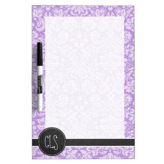 Lavender Damask; Vintage Chalkboard look Dry Erase Board