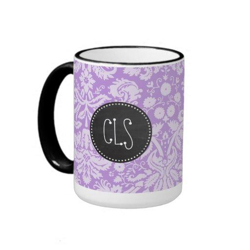 Lavender Damask; Vintage Chalkboard look Mug