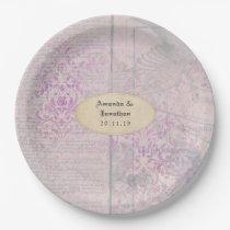 Lavender Decoupage Damask Wedding Paper Plate