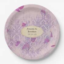 Lavender Distressed Damask Wedding Paper Plate
