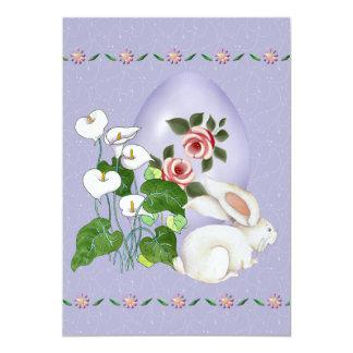 Lavender Egg and White Bunny 13 Cm X 18 Cm Invitation Card