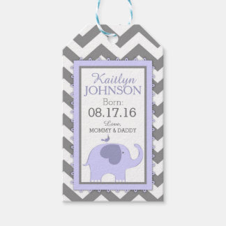 Lavender Elephant Bird Chevron Baby Shower