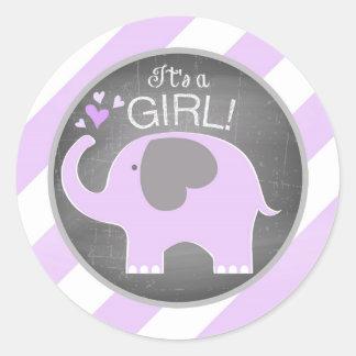 Lavender Elephant Diagonal Stripe Baby Shower Round Sticker