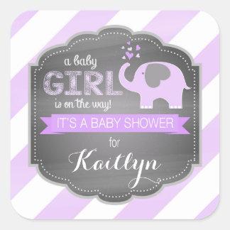 Lavender Elephant Diagonal Stripe Baby Shower Square Sticker