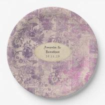 Lavender Ephemera Damask Wedding Paper Plate