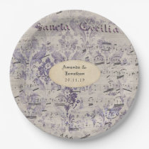 Lavender Ephemera Music Notes Wedding Paper Plate