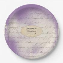 Lavender Ephemera Typography Wedding Paper Plate