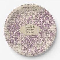 Lavender Ephemera Wedding Paper Plate