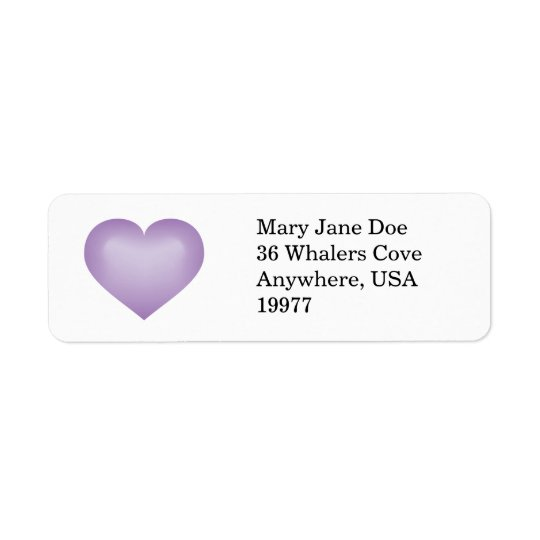 Lavender fade heart return address label