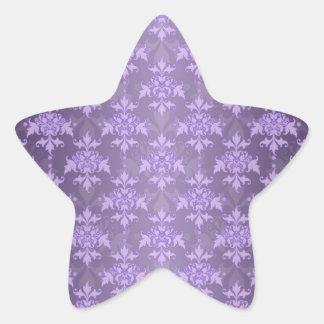 Lavender Fancy Damask Star Sticker