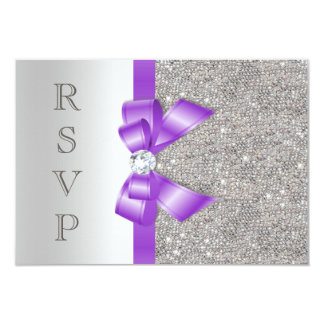 Lavender Faux Bow and Diamonds RSVP Card