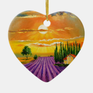 Lavender field at sunset ceramic heart decoration
