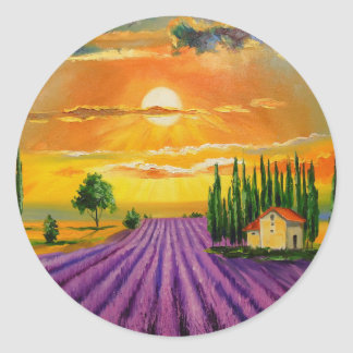 Lavender field at sunset classic round sticker