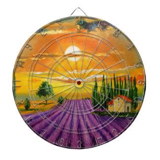 Lavender field at sunset dartboard
