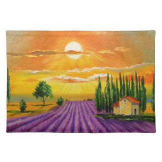 Lavender field at sunset placemat
