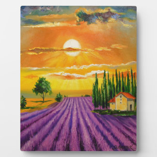 Lavender field at sunset plaque