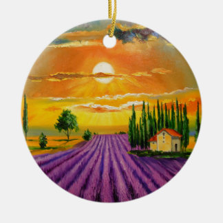 Lavender field at sunset round ceramic decoration