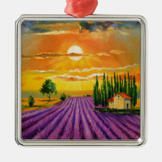 Lavender field at sunset Silver-Colored square decoration