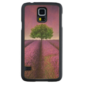 Lavender Field Landscape Summer Sunset Carved Maple Galaxy S5 Case