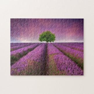 Lavender Field Landscape Summer Sunset Jigsaw Puzzle