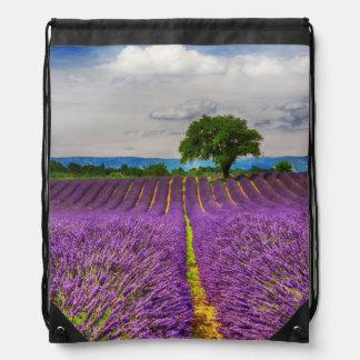Lavender Field scenic, France Drawstring Bag