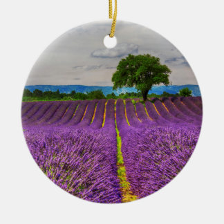 Lavender Field scenic, France Round Ceramic Decoration