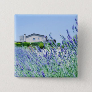 Lavender field with a building in the 15 cm square badge