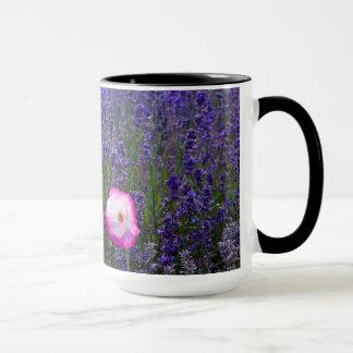 Lavender field with single pink poppy mug
