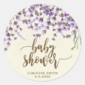 lavender floral baby shower favors sticker