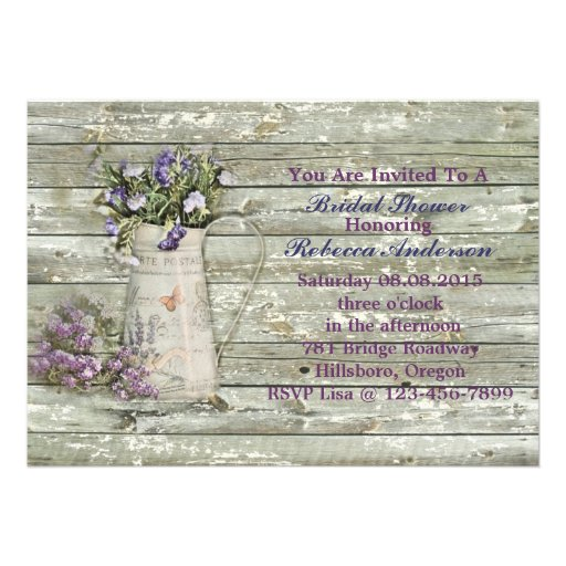 lavender floral country bridal shower tea party personalized announcements