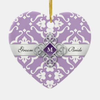 Lavender Floral Damask Amethyst Jewel Wedding Ceramic Heart Decoration