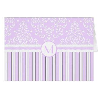 Lavender Floral Damask and Stripes-Monogram Note Card