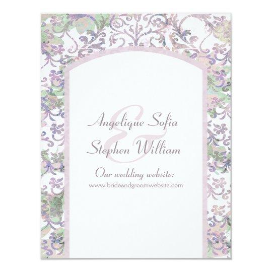 Lavender Floral Damask Wedding Information Card